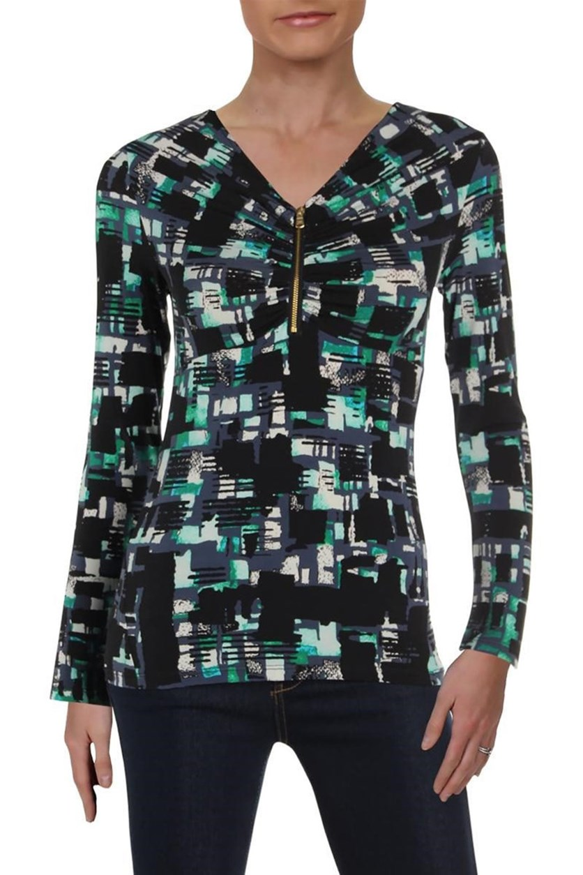 Women's Printed Zip Front Pullover Top, Black Combo