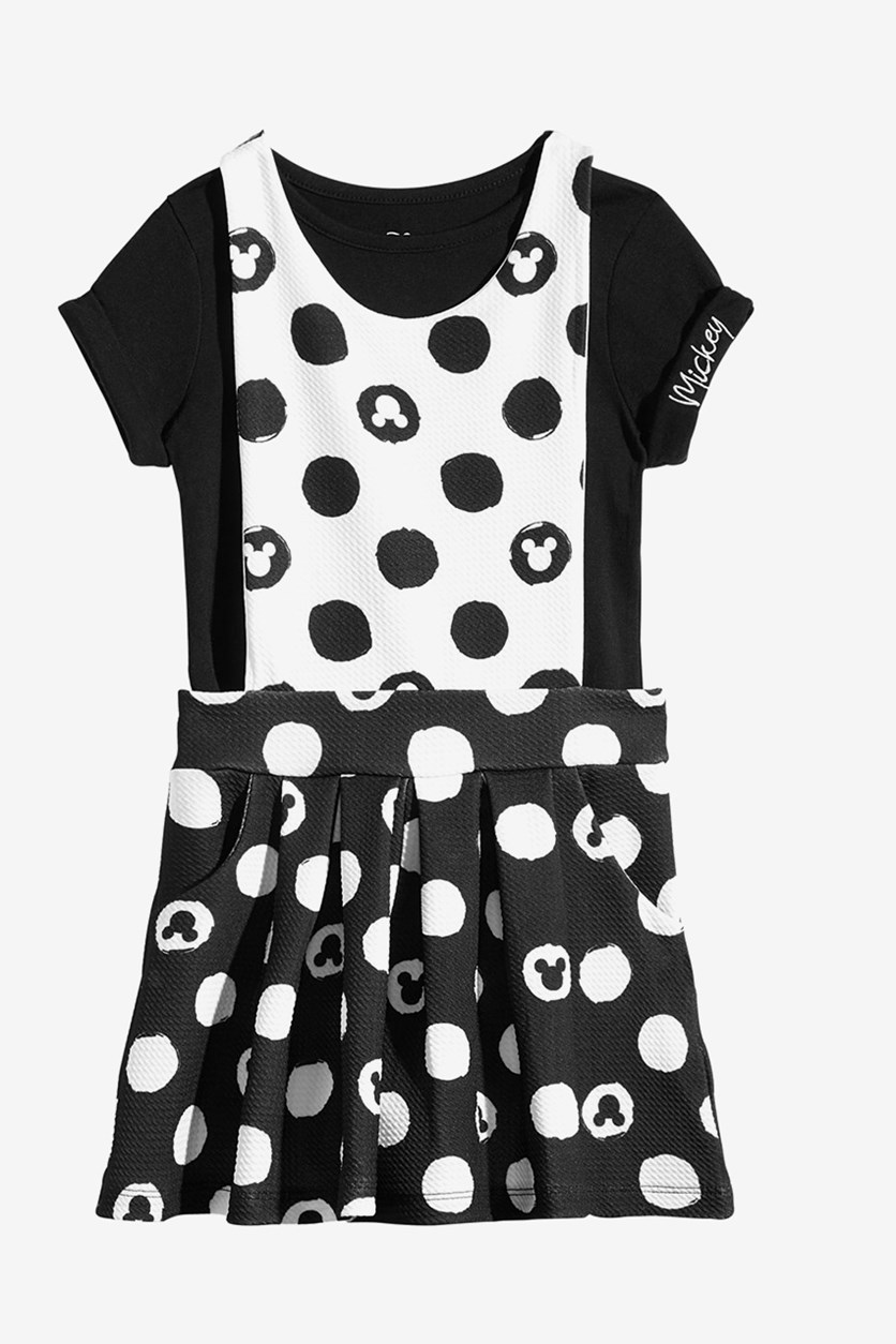 Toddler Girl's 2Pcs Mickey Mouse T-Shirt & Jumper Set, Ivory
