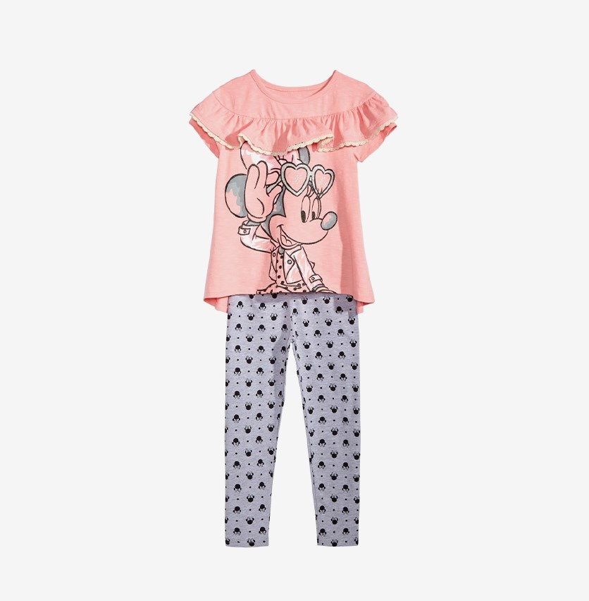 Girls 2-Pc. Minnie Mouse Ruffle-Trim T-Shirt & Leggings Set, Pink/Grey