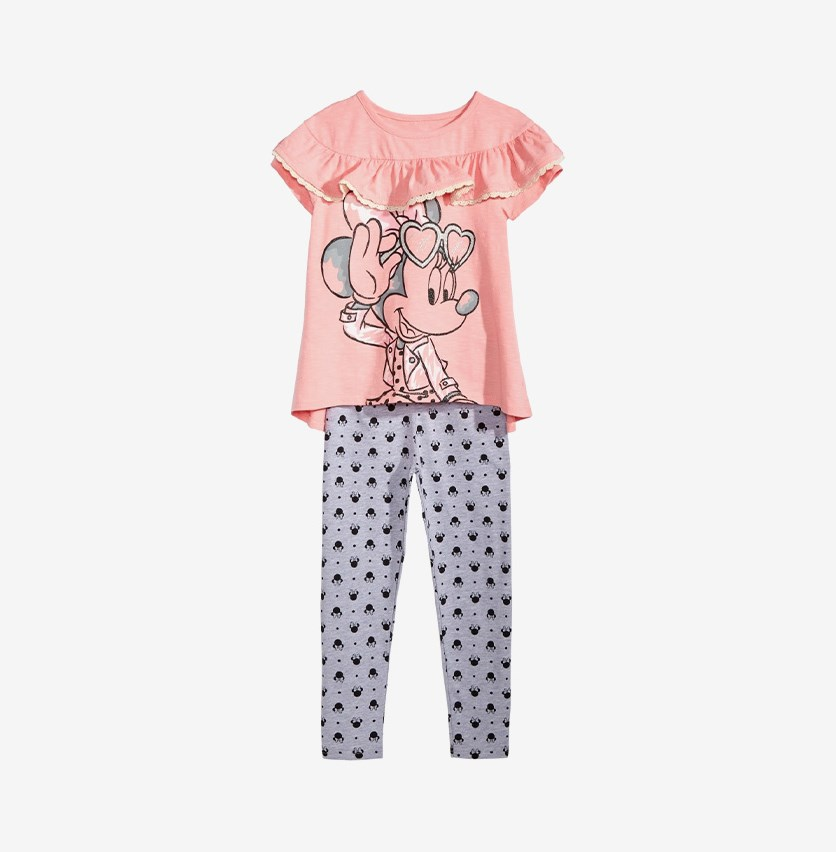 Toddlers 2-Pc. Minnie Mouse Ruffle-Trim T-Shirt & Leggings Set, Pink/Grey
