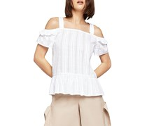 BCBGeneration Optic White Ruffle Cold Shoulder Sleeve Top, Optic White