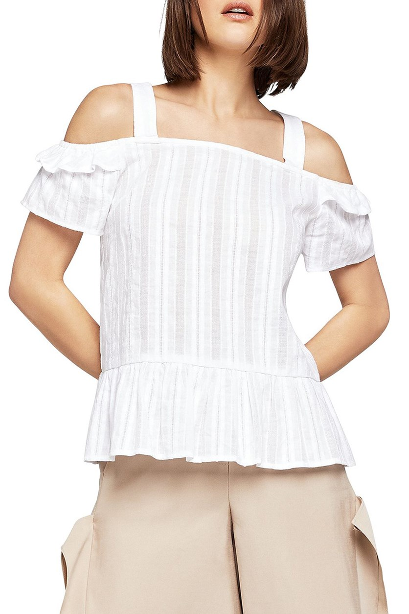 Women's Ruffle Cold Shoulder Sleeve Top, Optic White