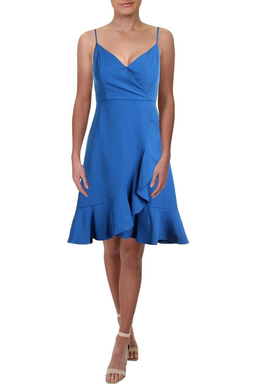 Women's Sleeveless Above Knee Faux-Wrap Flounce Dress, Blue