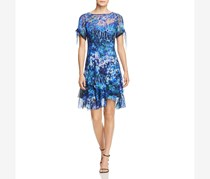 Elie Tahari Maurine Floral Cold-Shoulder Silk Dress, Blue