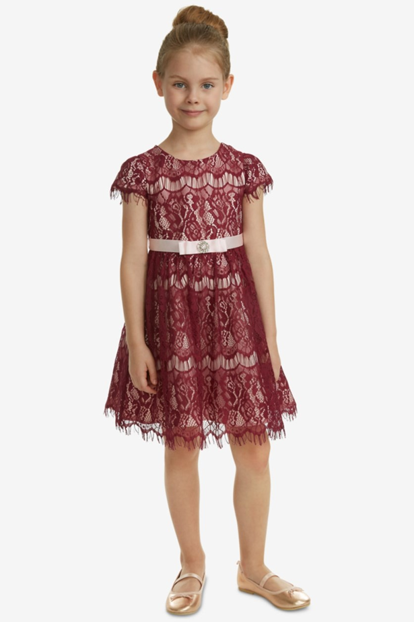 Toddler Girls Lace Fit & Flare Dress, Burgundy