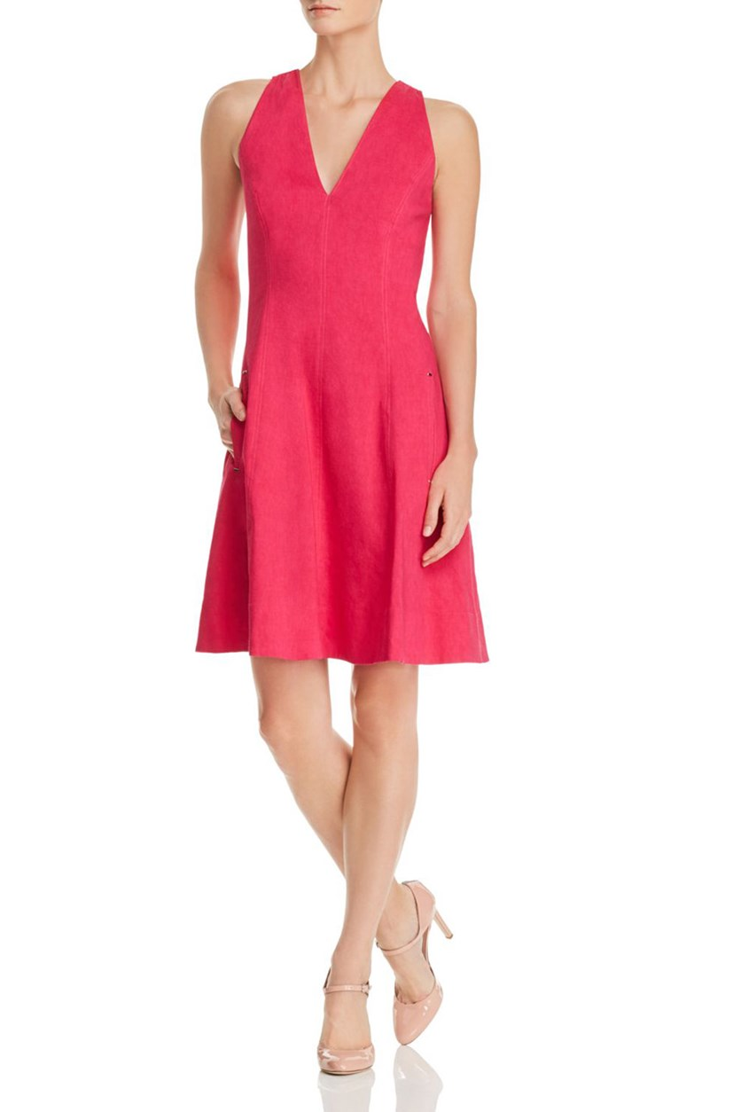 Selene Fit-and-Flare Dress, Dark Pink