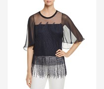 Elie Tahari Womens Noreen Fringe Embroidered Blouse, Black