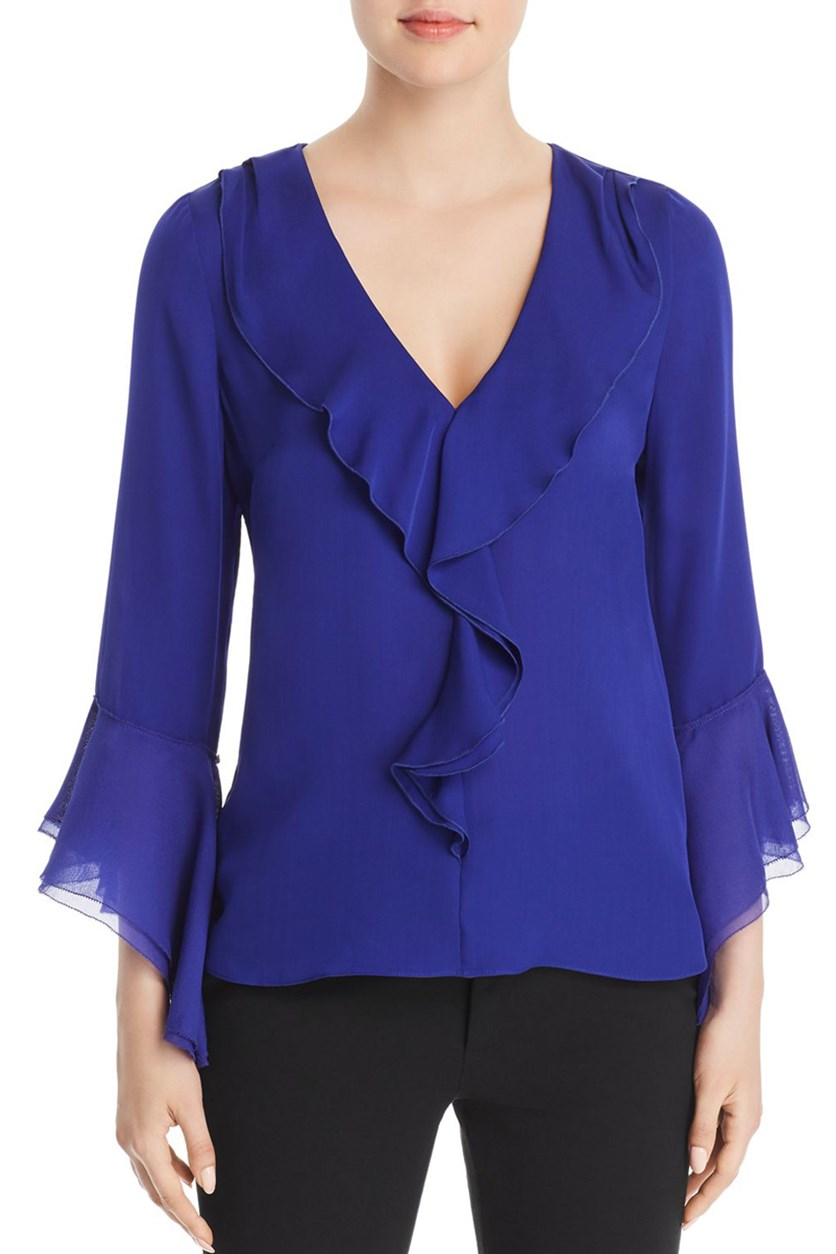 Womens Julianna Silk Ruffled Blouse, Crocus