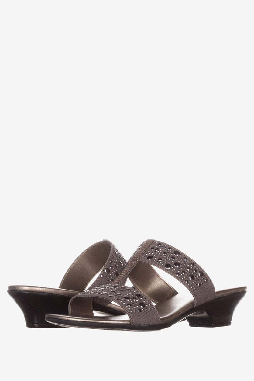 Eddina Embellished Slide Sandals, Pewter
