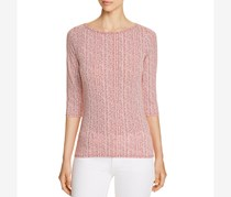Three Dots Womens Printed 3/4 Sleeves Henley Top, Red Clay