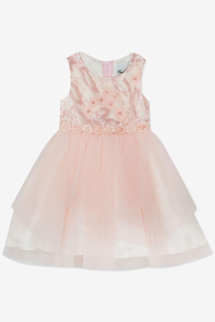 Toddler Girl's Sequin Embroidered Dress, Peach
