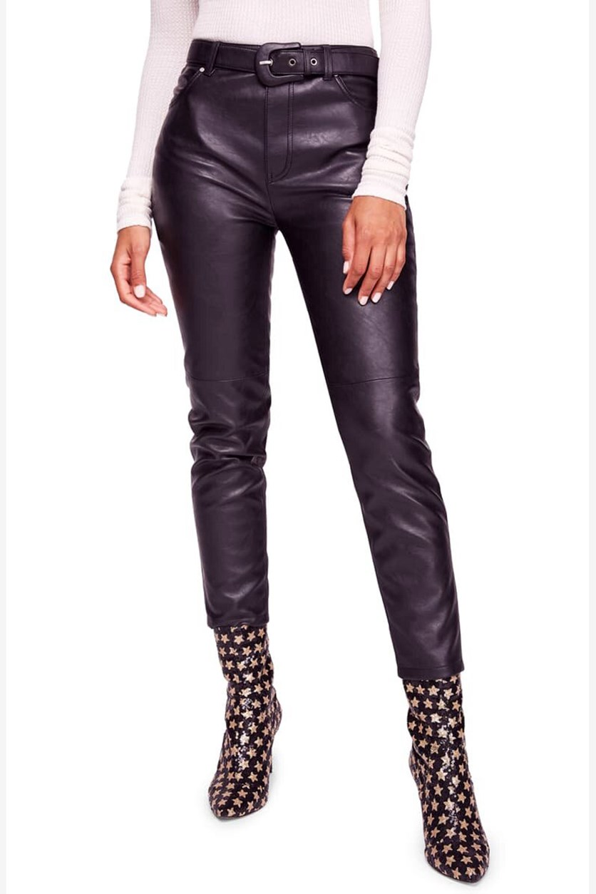 Womens Faux Leather Belted Pants, Black