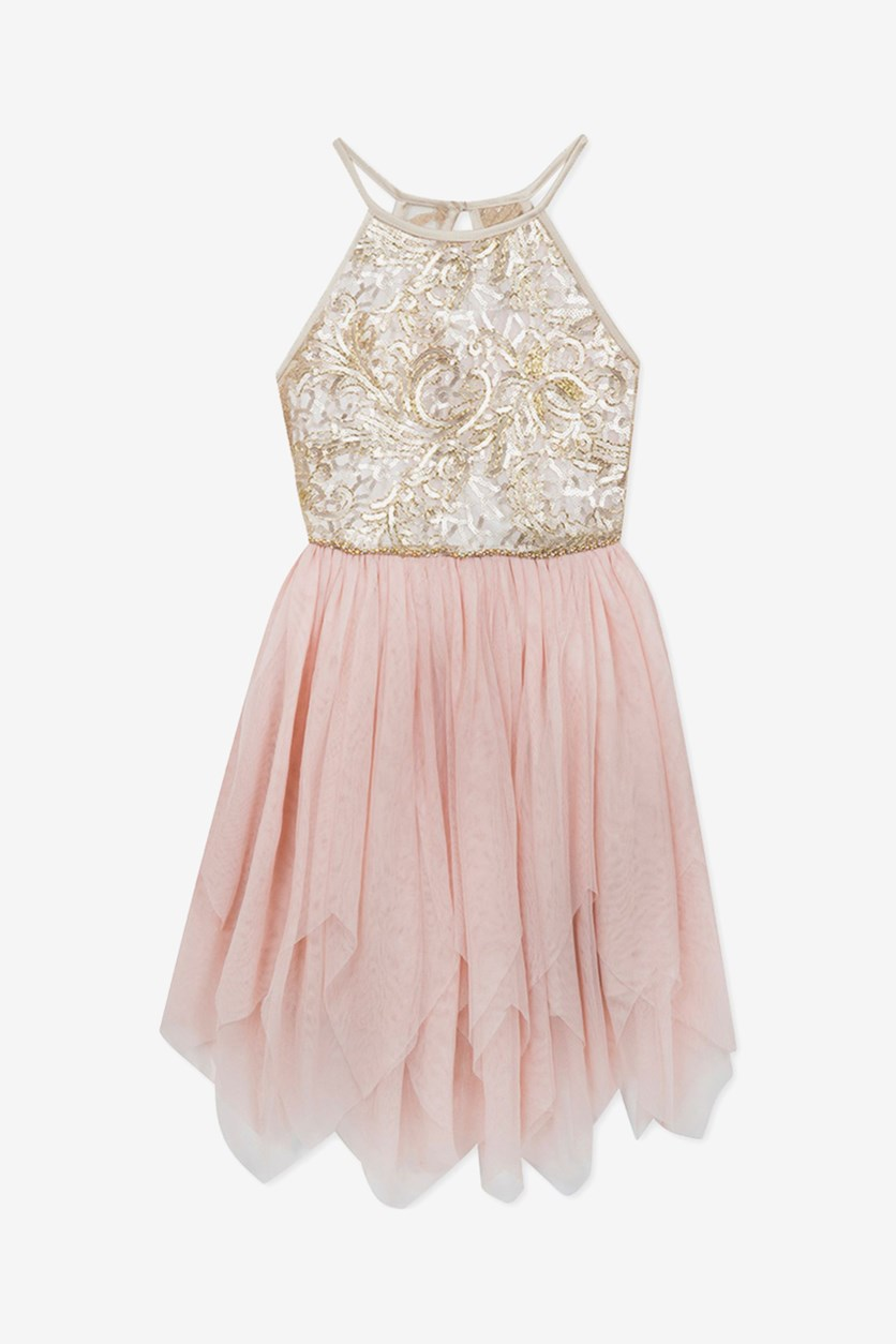 Big Girls Plus Sequin Mesh Fairy Dress, Blush