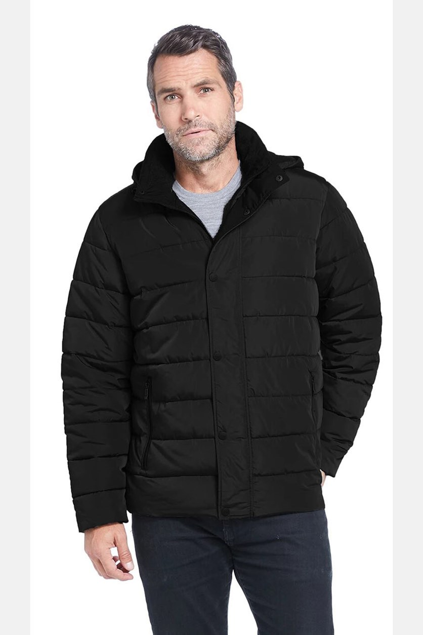 Men's Water Resistant Removable Hood Ultra Luxe Puffer Coat Jacket, Black