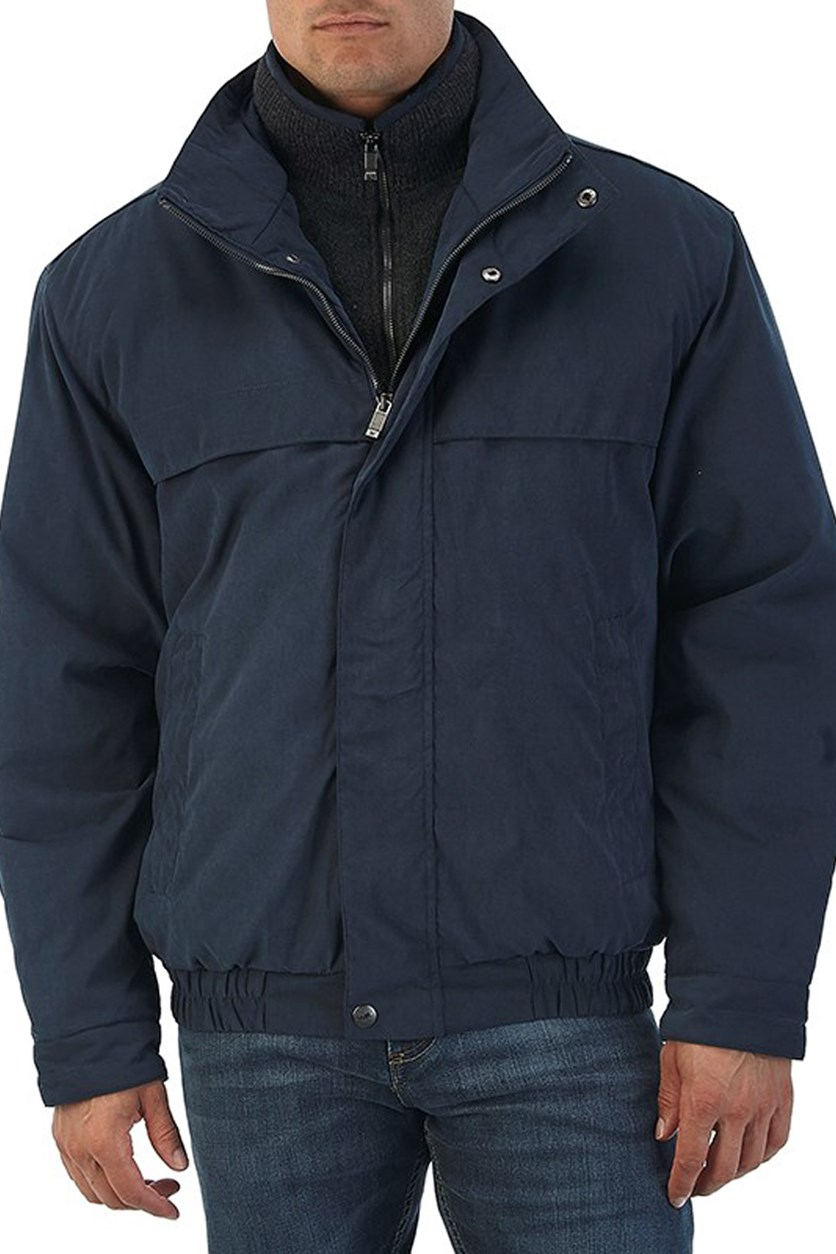Men's Lightweight Water Resistant Zip Bomber Jacket Coat, Blue Mountain