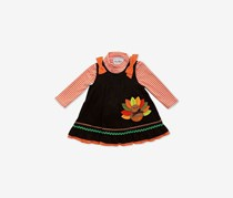 Baby Girls 2-Pcs. Striped Bodysuit & Turkey Dress Set, Brown/Orange