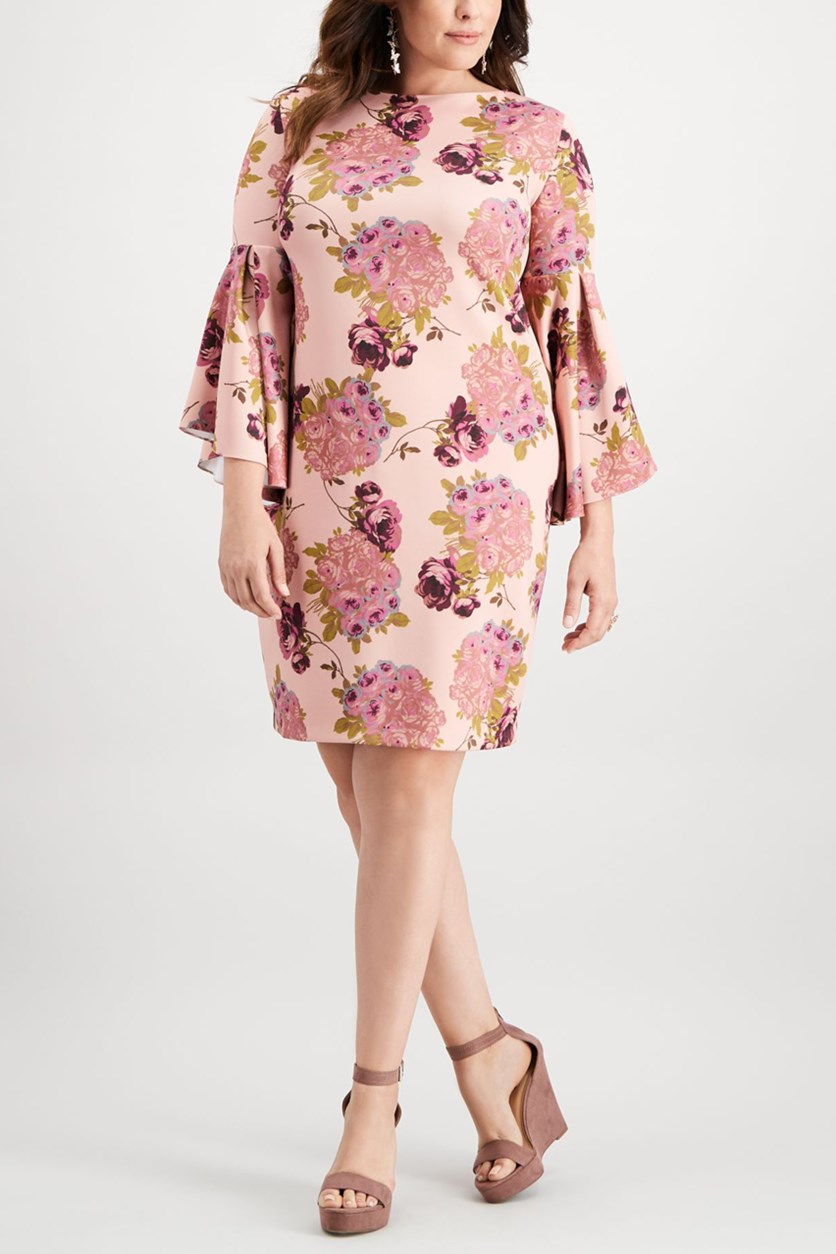 Women's Plus Boat Neck Floral Cocktail Dress, Floral