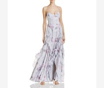 Fame and Partners Womens Tiered Floral Dress, Grey