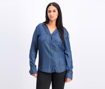 Tinsel Women's Long Sleeve Full Button Shirt, Navy Blue