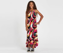 Girls Maxed Out Printed Maxi Dress, Yellow/Black/Brown