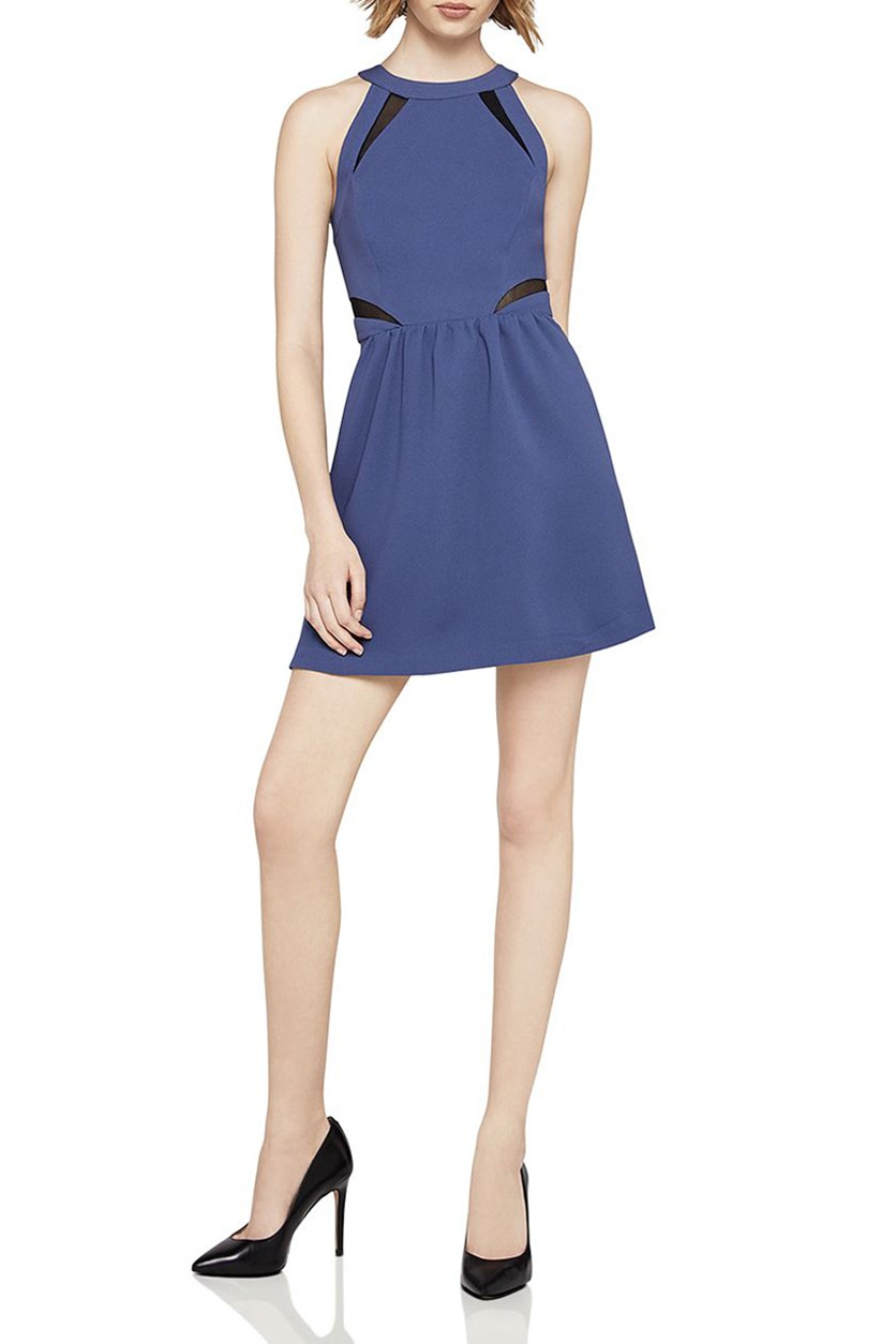 Women's Fit-And-Flare Halter Dress, Blue Smoke