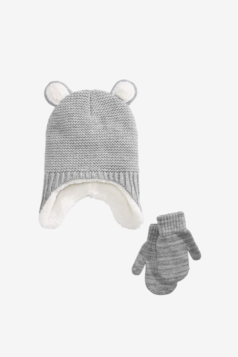 Toddler Girls 2-Pc. Hat & Mittens Set, Gray