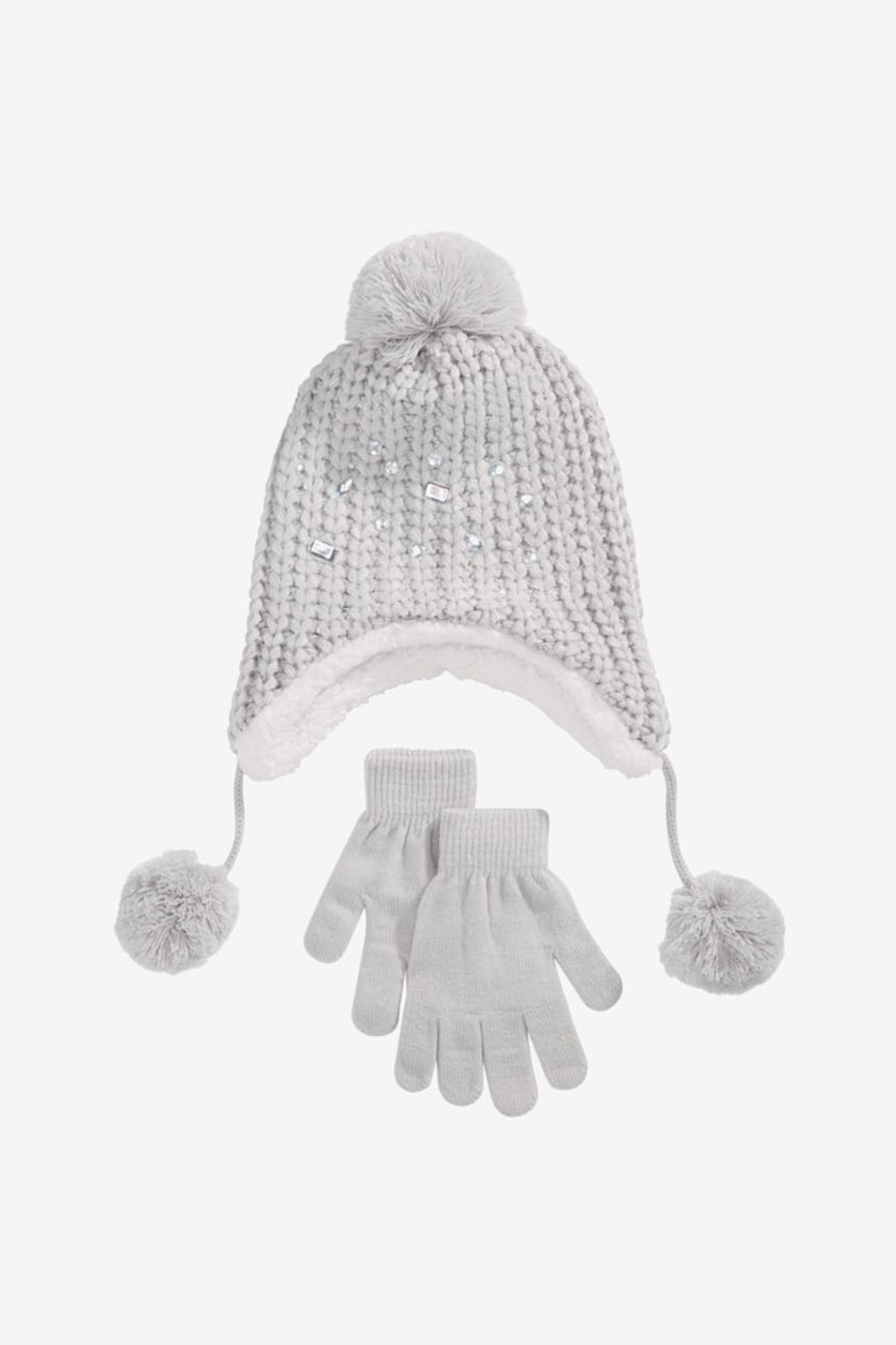 Girls 2-Pc. Embellished Hat & Gloves Set, Gray