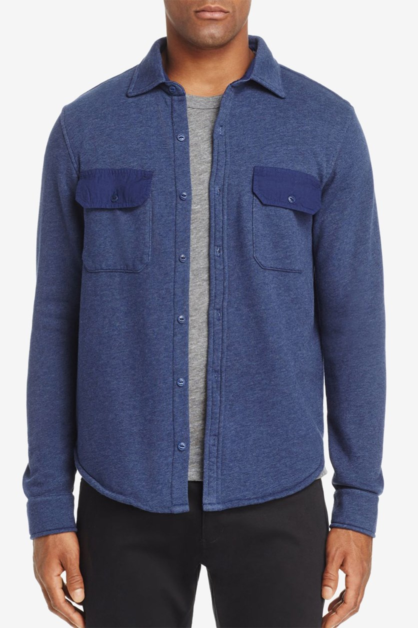 Men's Shearling Shirt Jacket, Navy