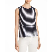 Three Dots Women's Striped Tie Back Tank Top, Navy Blue