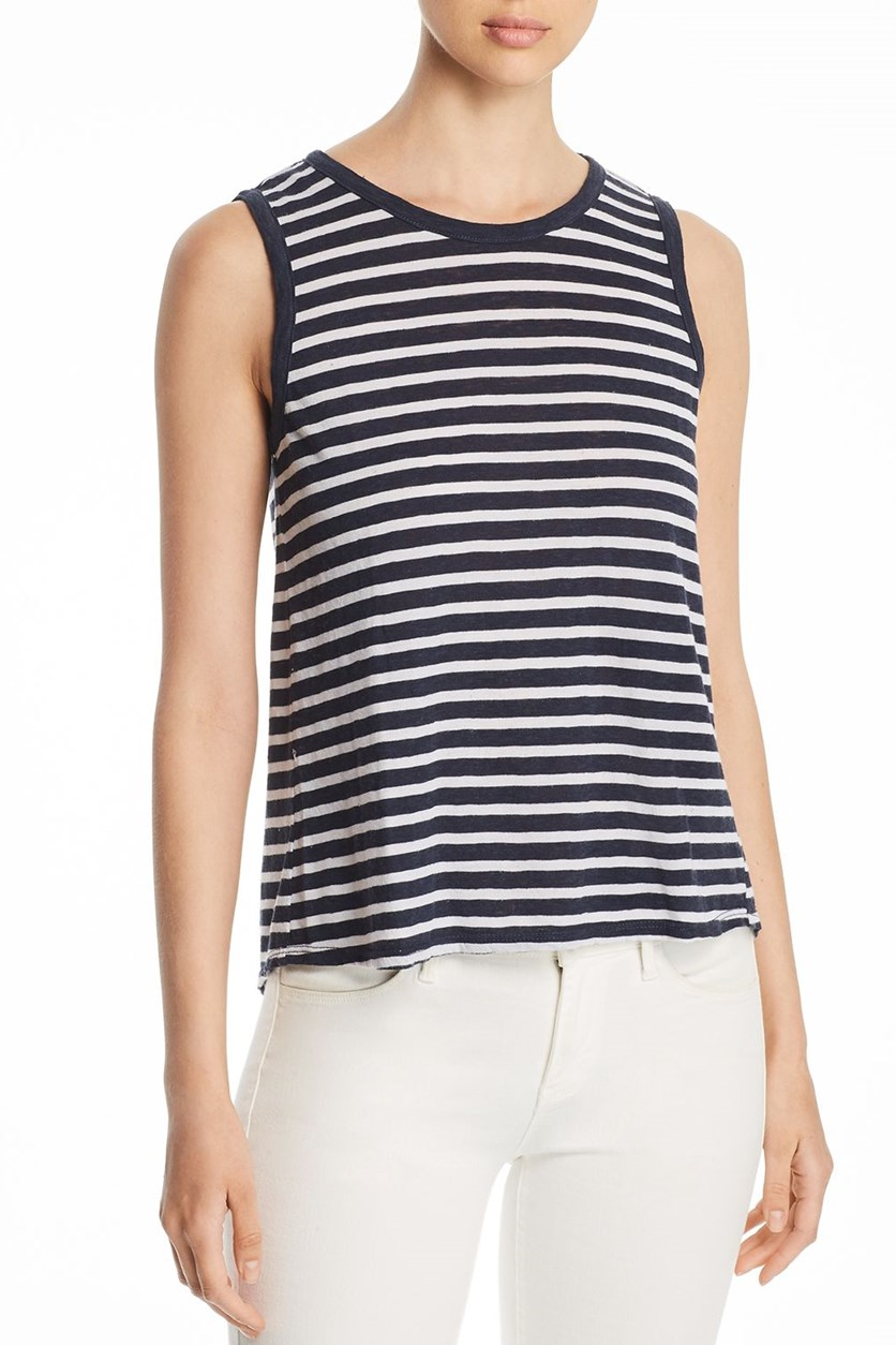 Women's Striped Tie Back Tank Top, Navy Blue