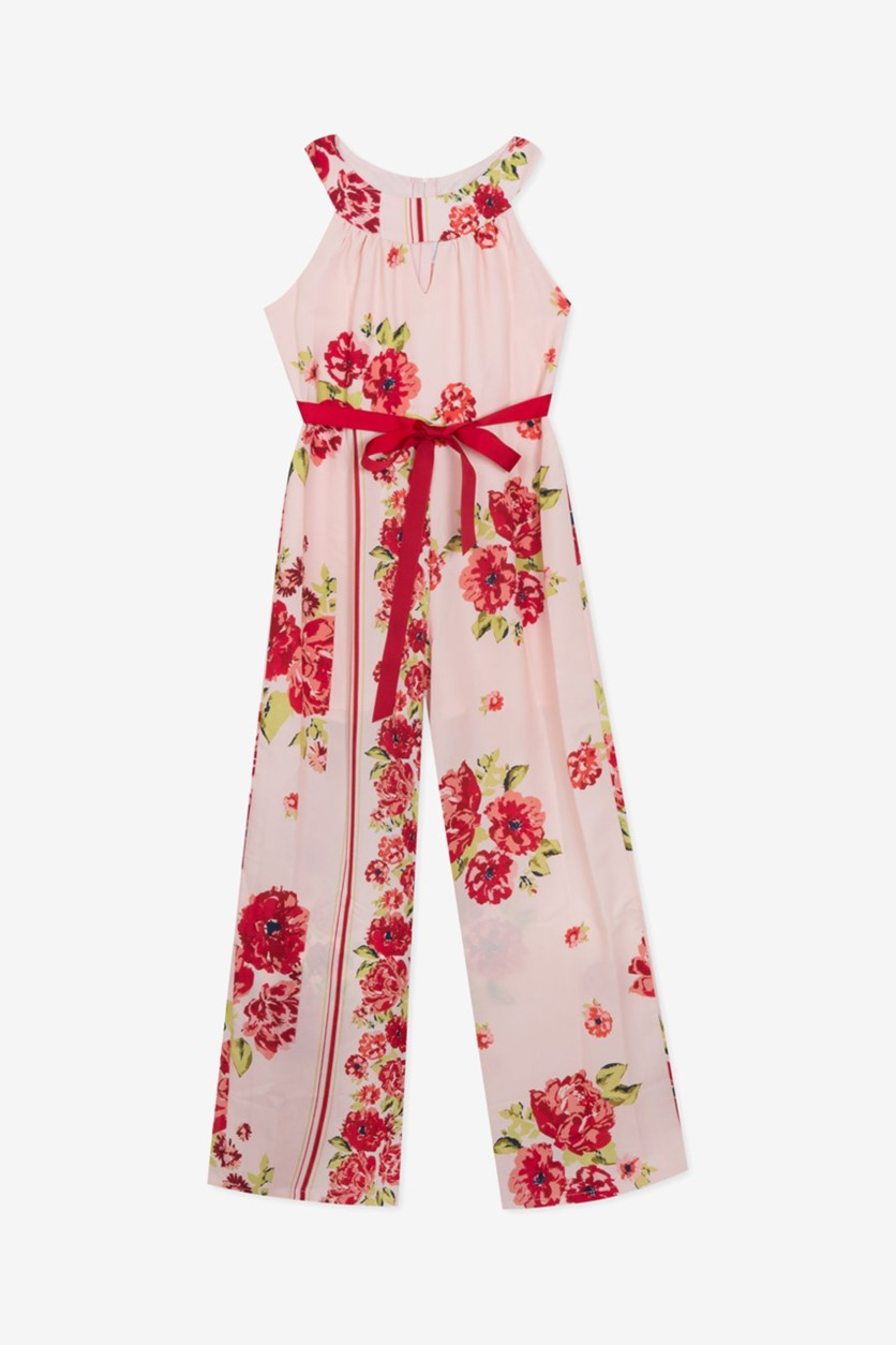 Big Girls Floral Print Round Neck Full Leg Jumpsuit, Pink