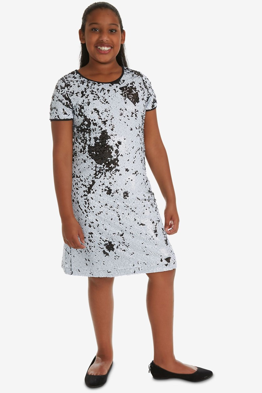 Big Girls Plus Reversible Sequin Shift Dress, Black/White