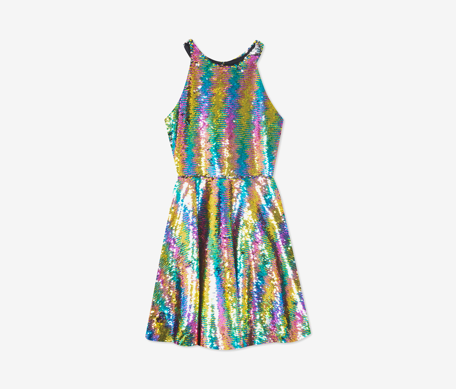 Big Girls Plus Reversible Sequin Fit & Flare Party Dress, Gold Combo