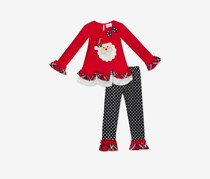 Little Girls 2-Pc. Santa Tunic & Leggings Set, Red/Black