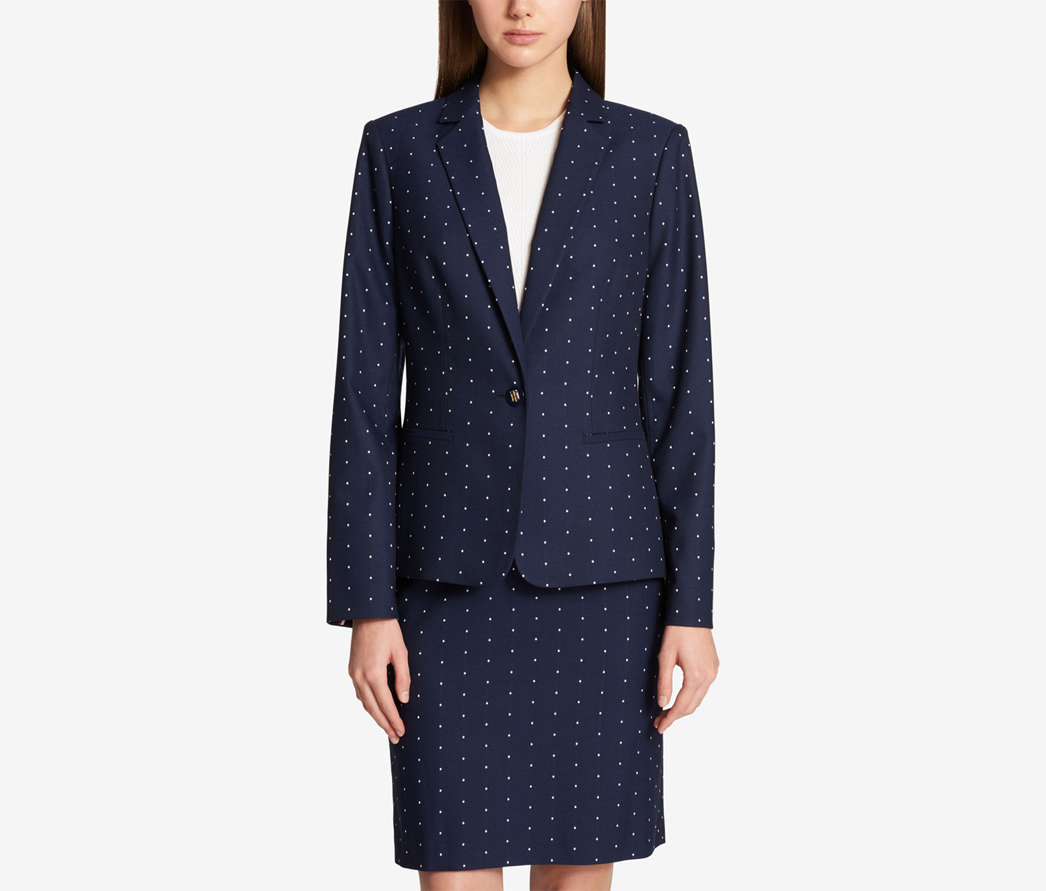 Tommy Hilfiger Printed One-Button Blazer, Midnight/Ivory