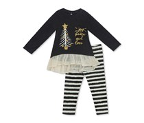 Rare Editions 2-Pc. Knit Holiday Tunic & Striped Leggings Set, Charcoal