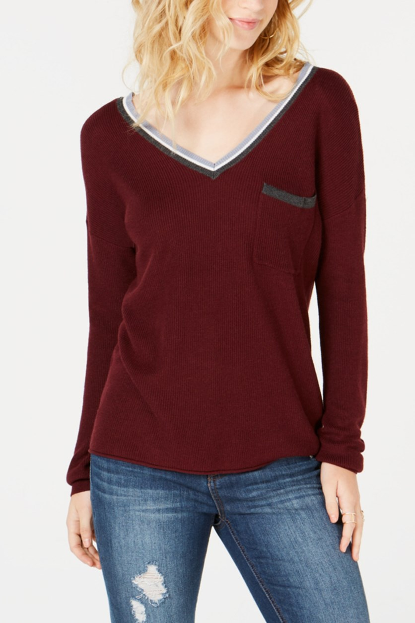 Juniors' Stripe-Trimmed V-Neck Sweater, Burgundy Combo