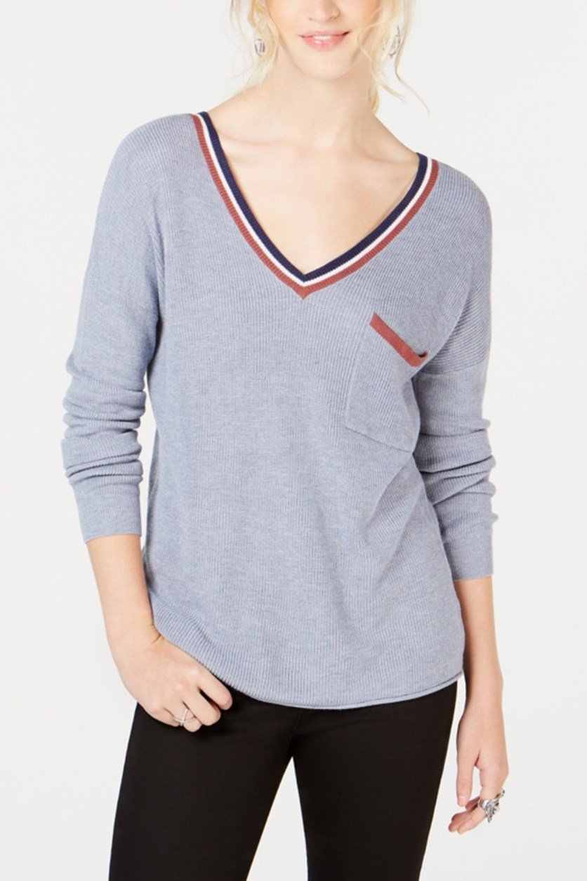 Juniors' Stripe-Trimmed V-Neck Sweater, Breeze Combo