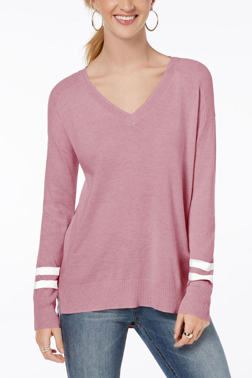 Juniors High Low Sweater, Mauve Combo