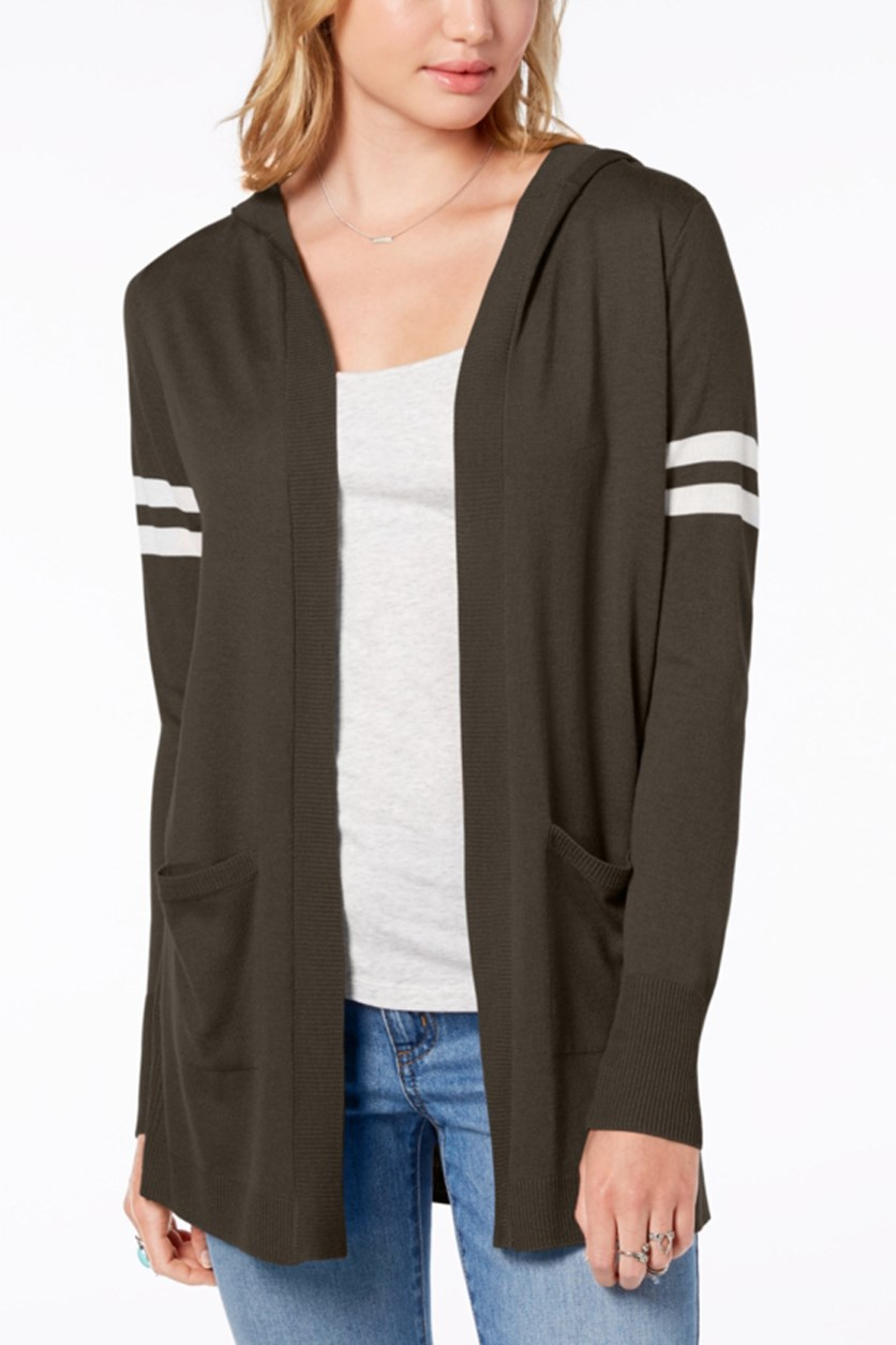 Juniors' Hooded Cardigan, Olive