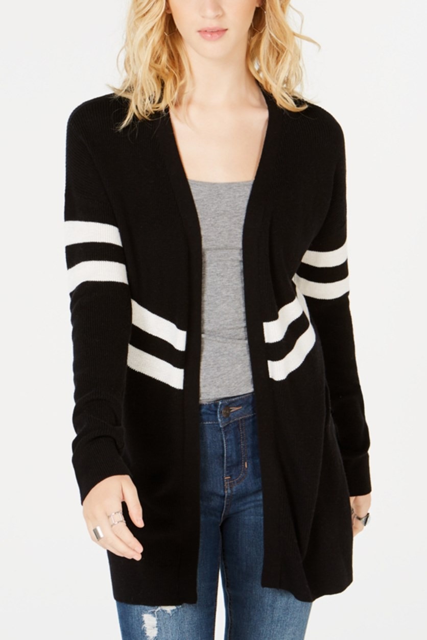 Women's Varsity Stripe Open-Front Cardigan, Black