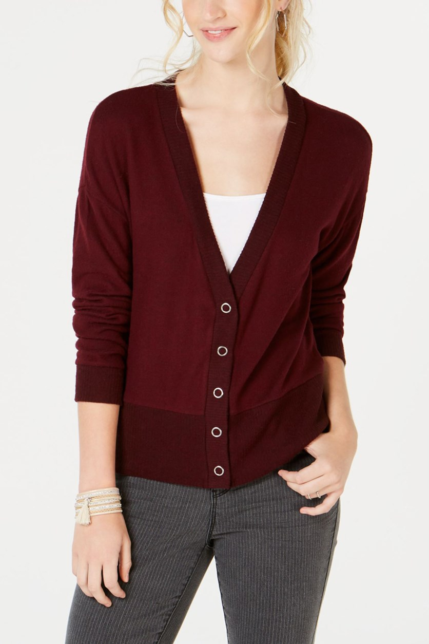 Juniors' Snap-Front Hacci Cardigan, Burgundy