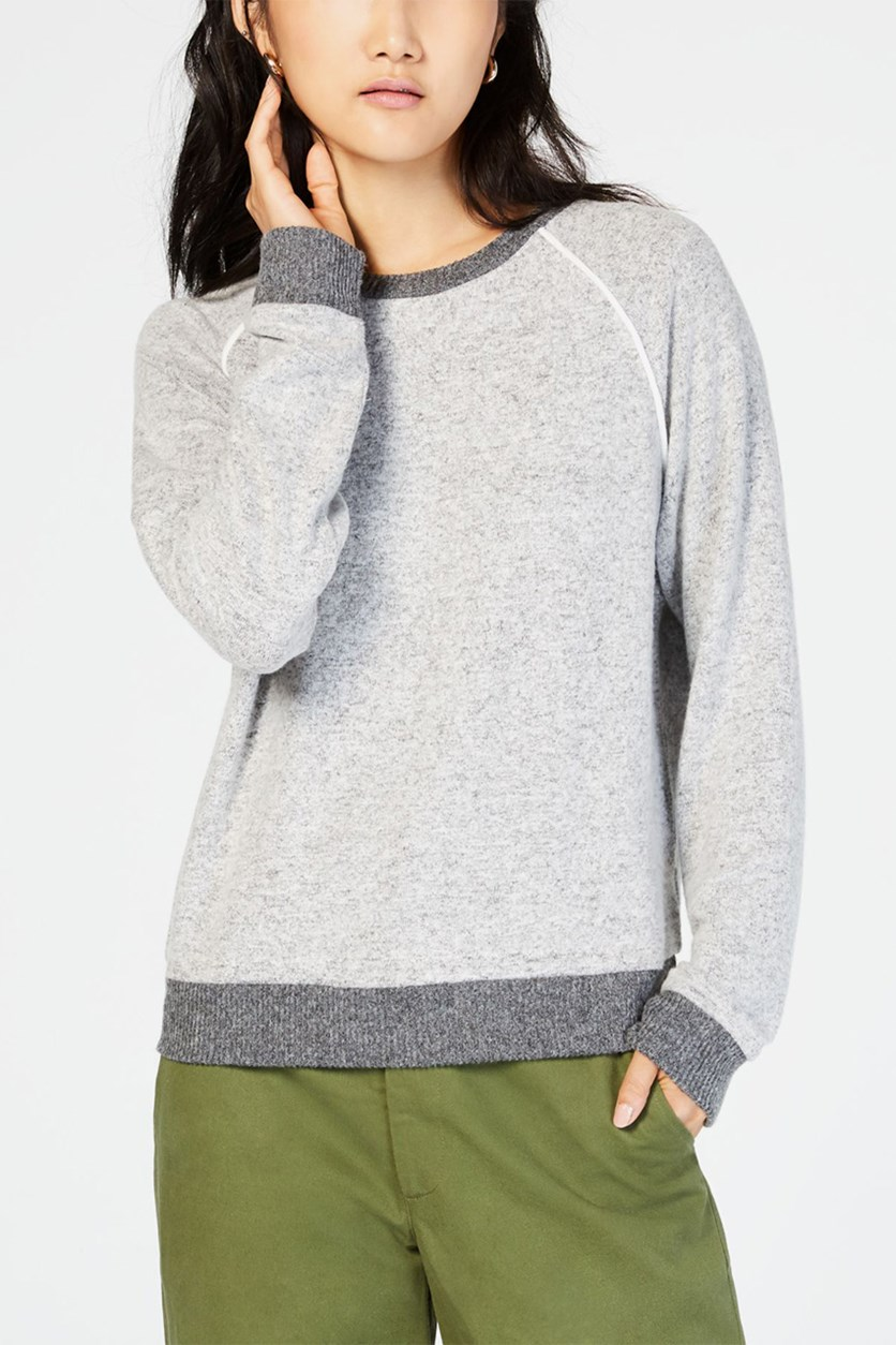 Juniors' Piped Raglan Sweatshirt, Light Grey