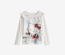 Little Girls Graphic-Print Ruffled T-Shirt, Off White