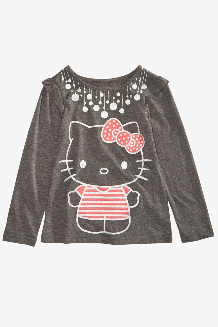Little Girls Graphic-Print Ruffled T-Shirt, Grey