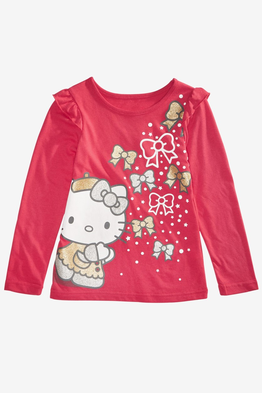 Little Girls Glittered Bow-Print T-Shirt, Red