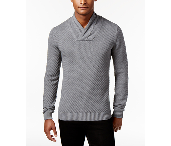 Sean John Men's Big & Tall Cable-Knit Shawl-Collar Sweater, Gray