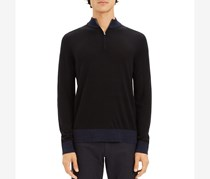 Theory Rothley Color-Block Quarter-Zip Sweater, Black Combo