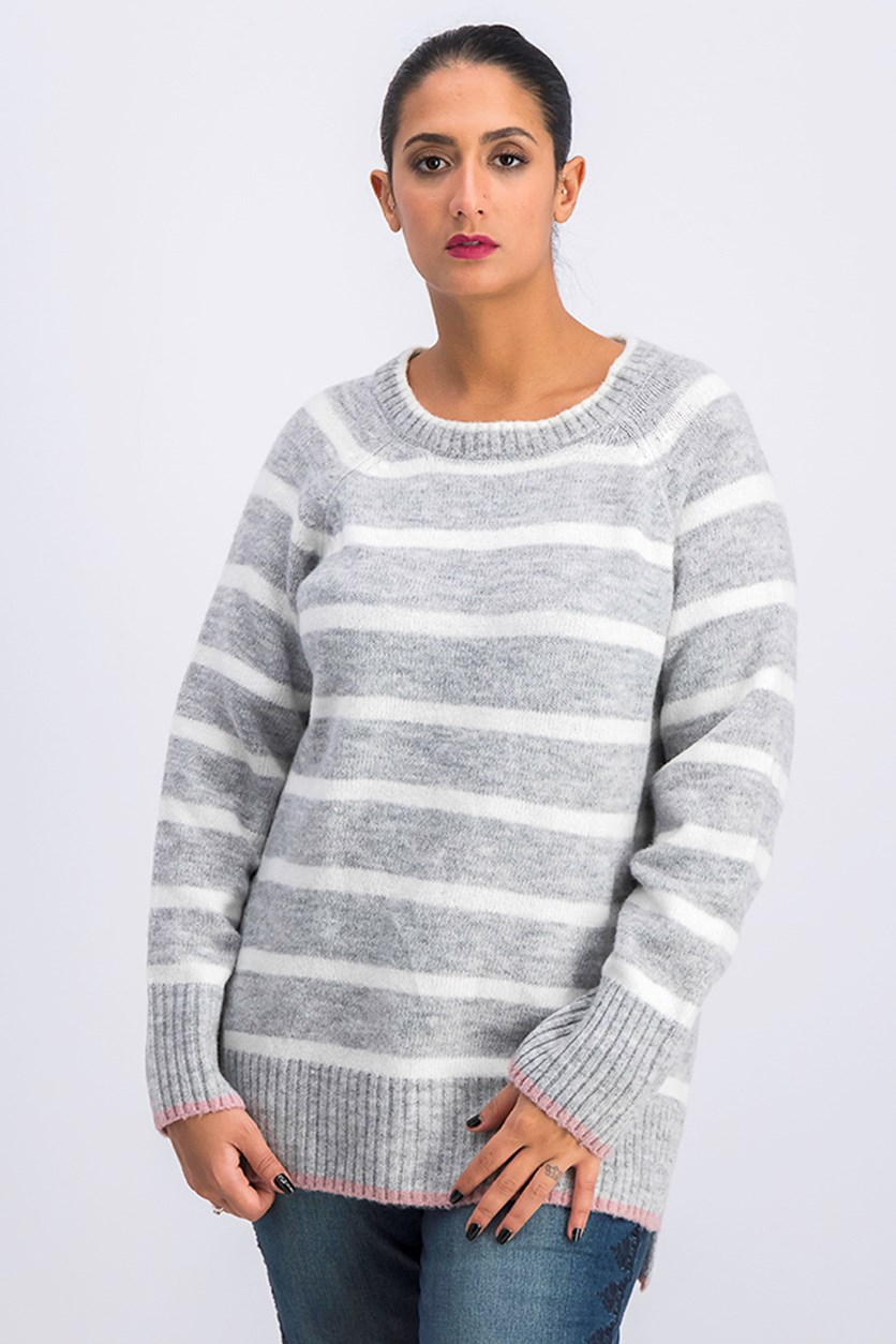 Women's Striped Sweater, Grey/White