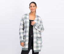 Women's Knitted Long Cardigan, Gray